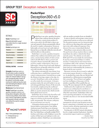 SC Magazine review of PacketViper Deception